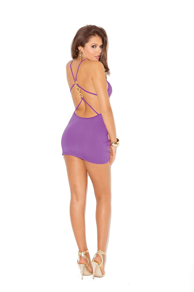 Deep V mini dress with front and back ruching detail and ring accents  Purple