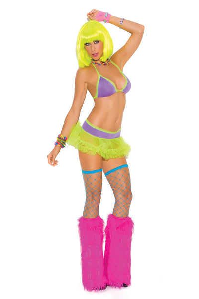 """Neon Nites"" Halter style string bra and matching tutu skirt  *Available Boxed Neon"