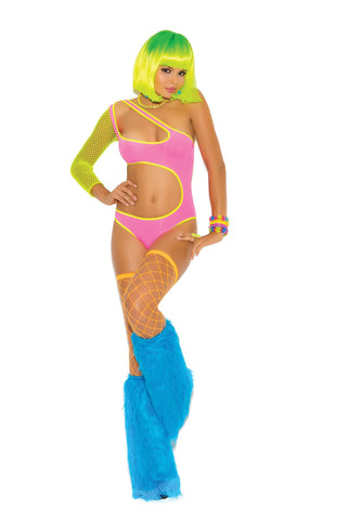 """Neon Nites"" One shoulder lycra teddy with fishnet sleeve and  side cut outs *Available Boxed Neon"