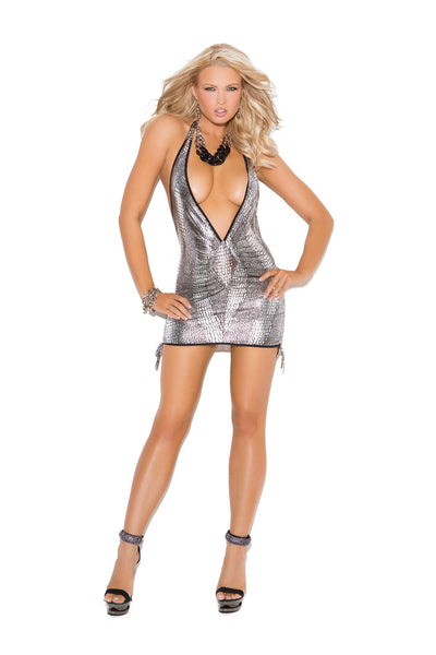 Deep V halter mini dress features side scrunch hemline adjustment  Metallic Silver/Black