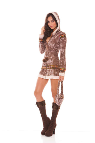 Arctic Princess - 2 pc costume includes long sleeve zip  front hooded dress and purse  Taupe