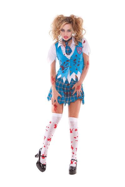 School Girl Specter - 4 pc costume includes short sleeve  button front shirt, vest, tie and pleated mini skirt  Lt. Blue/Turquoise Plaid