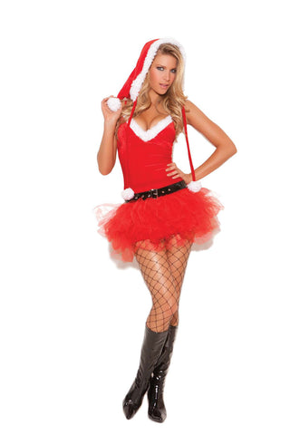 Santa's Sweetie - 3 pc Costume includes tutu dress, belt  and Santa hat Red