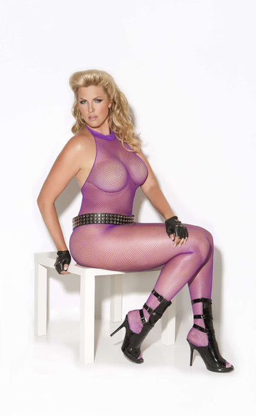 Fishnet bodystocking Purple Queen Size
