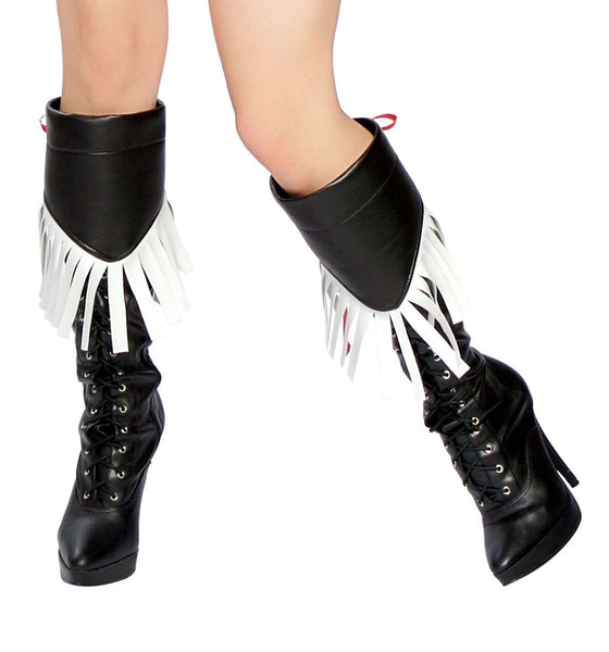 Fringed Boot Covers - Black/White