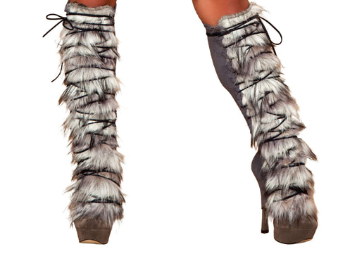 Fur/Suede Leg Warmer with Lace-up