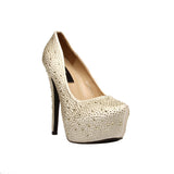 "5""3""/4""Heel Rhinestone Covered Satin Platform-Gold Satin Genuine-GISELLE-11"