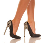 "5 1/4"" Pointed Toe Sexy Pump With Rear Spike Embellishment"