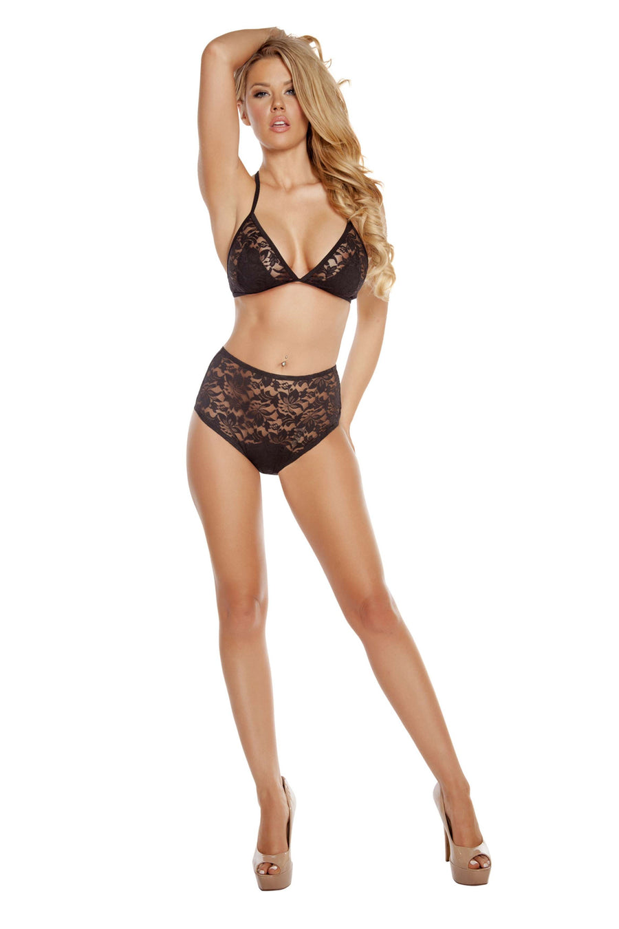 High-Waisted Lace Shorts & Halter Top - Black