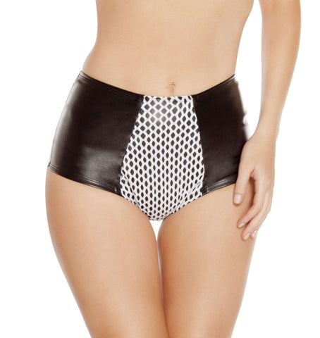 High-Waisted Leatherette Shorts w/ Fishnet Detail - Black/White