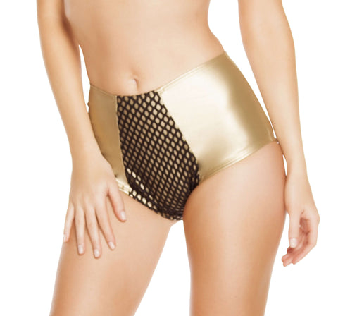 High-Waisted Leatherette Shorts w/ Fishnet Detail - Gold/Black