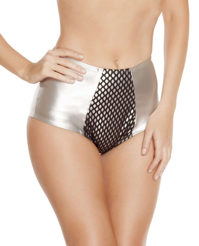 High-Waisted Leatherette Shorts w/ Fishnet Detail - Silver/Black