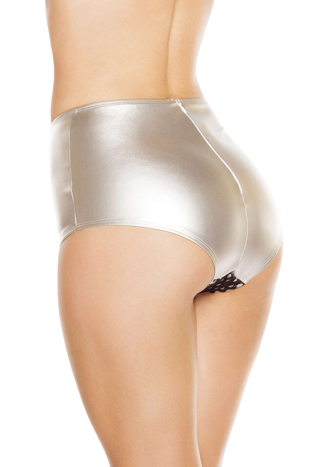 High-Waisted Leatherette Shorts w/ Fishnet Detail