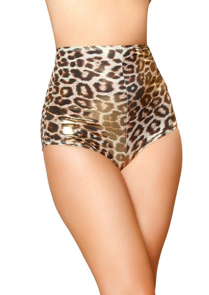 High-Waisted Shorts - Gold/Brown Leopard