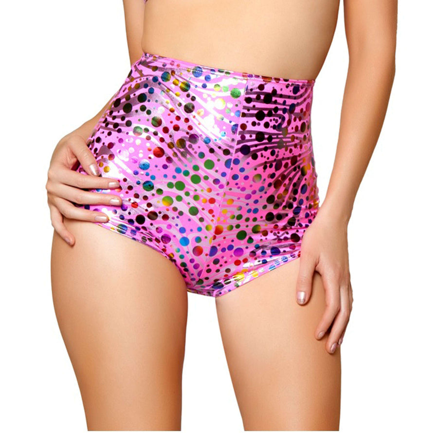 High-Waisted Shorts - Pink Bubbles