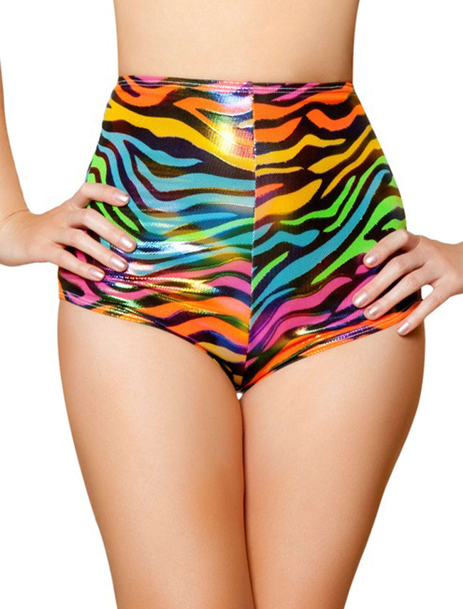 High-Waisted Shorts - Rainbow Zebra