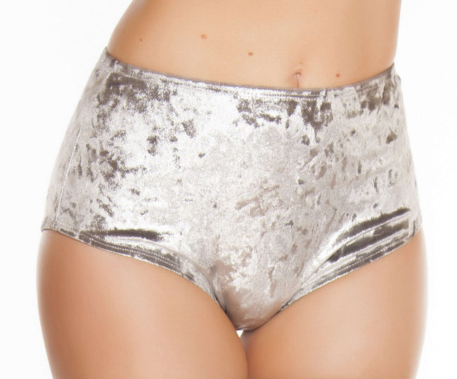 High-Waisted Velvet Shorts - Silver