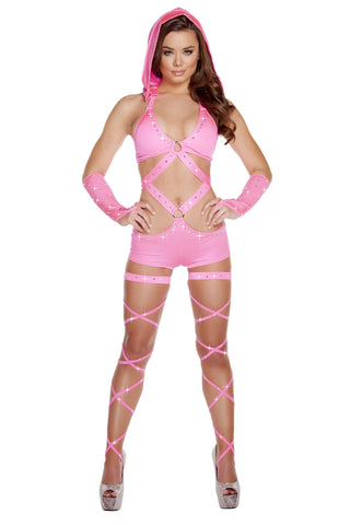 Hooded Monokini w/ O-Ring & Rhinestones - Hot Pink