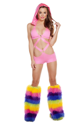 Hooded Monokini w/ O-Ring - Hot Pink