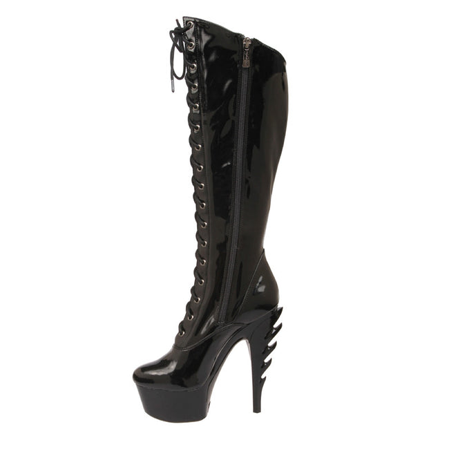 "6"" Platform Lace Up Knee Boot With Flame Heel"