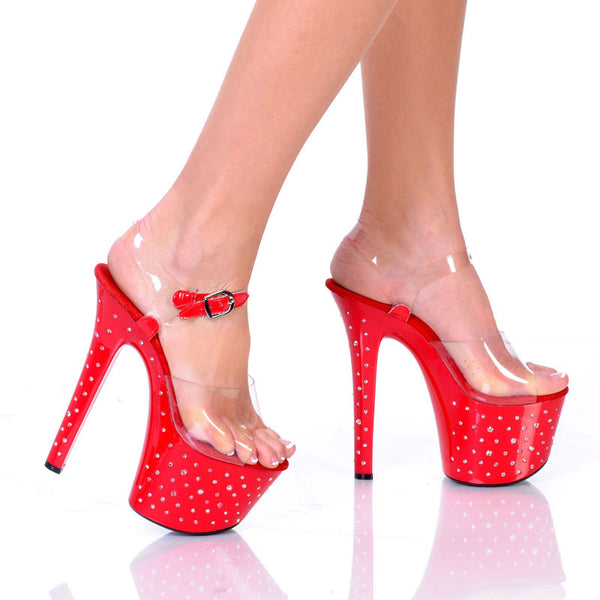 "7""Platform With Diamond Drilled Platform And Clear Vamp-Red Bottom-JEZZIE-3""1"
