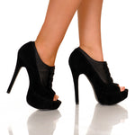 "5 1/2"" Open Toe Satin Ankle Pump With Button Up Vamp"