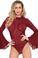 Leg Avenue Female's High neck stretch lace bell sleeve bodysuit 89208