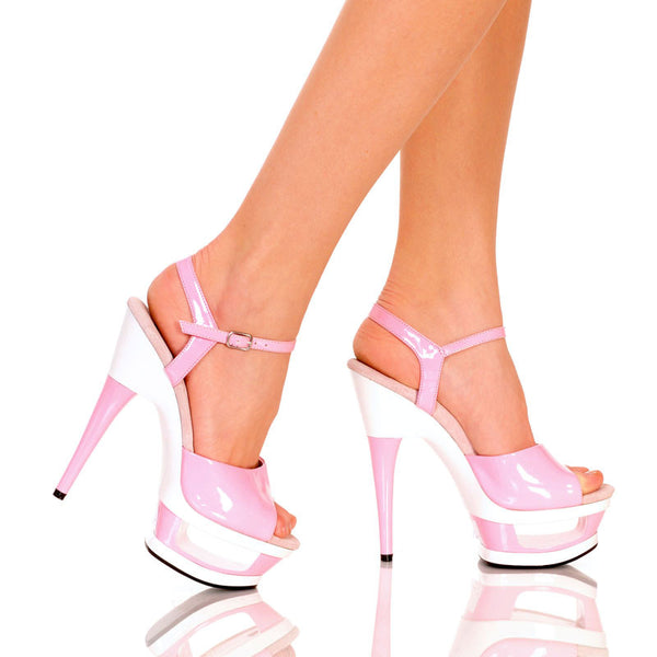 "6"" Cut Out Platform With Plain Upper And Qtr Strap-Pink Patent PU-LEXI-5""1"