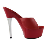 "6"" Platform Mule W/Metal Heel-Red Smooth PU -LOVER"
