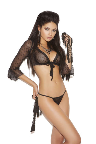 Lace 3/4 sleeve tie top and g-string  Black One Size