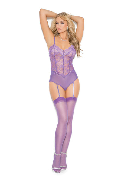 Lace and mesh teddiette with adjustable straps Garters are  adjustable and detachable  Dahlia Purple