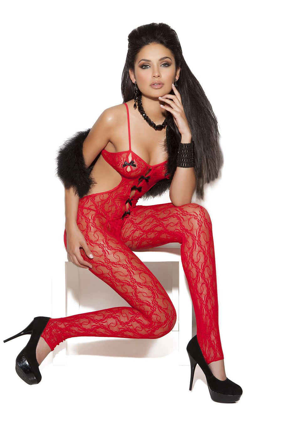 Lace bodystocking with satin bow detail Red One Size