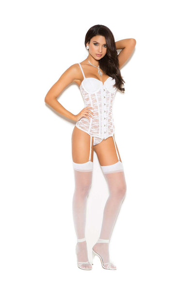 Lace bustier with underwire cups, hook and eye front closure,  boning, adjustable straps and lace up back detail Matching  g-string included Garters are adjustable and detachable  White
