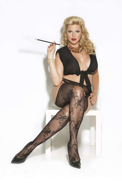 Lace suspender pantyhose Black Queen Size