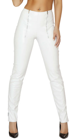 Leatherette Pants w/ Double Zip Front & Zip up Cuffs - White