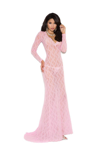 Long sleeve lace gown with deep V front  Baby Pink