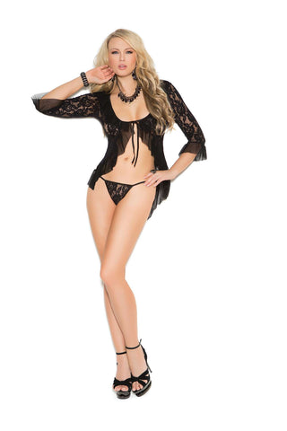 Long sleeve lace jacket and matching g-string  Black One Size