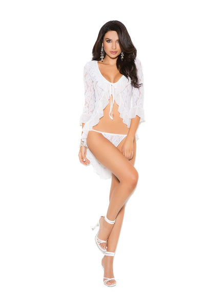 Long sleeve lace jacket and matching g-string  White One Size
