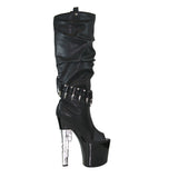 "7 1/2"" Platform Knee High Boot W/9mm Gun Shaped Heel"