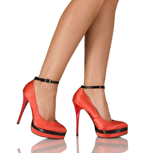 "5""Covered Platform Pump With Ankle Strap-Black/Red Combo-MONA-11"