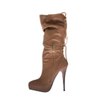 "5""Ultra Thin Heel Knee High Boot W/ Back Lace Up-Brown Kid PU-MONA-21"