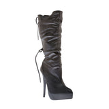 "5""Ultra Thin Heel Knee High Boot W/ Back Lace Up-Black Soft PU -MONA-21"