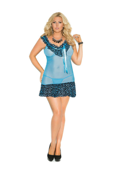 Plus Size Mesh babydoll with animal print trim, asymmetrical hem and  matching g-string  Blue