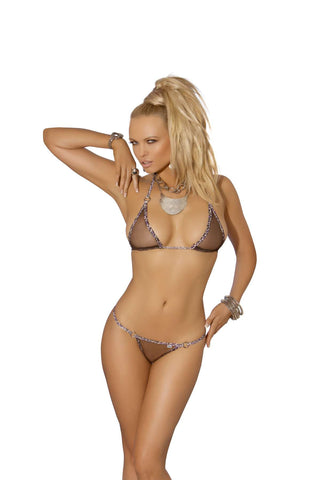 Mesh bikini top and matching g-string with animal trim Black One Size