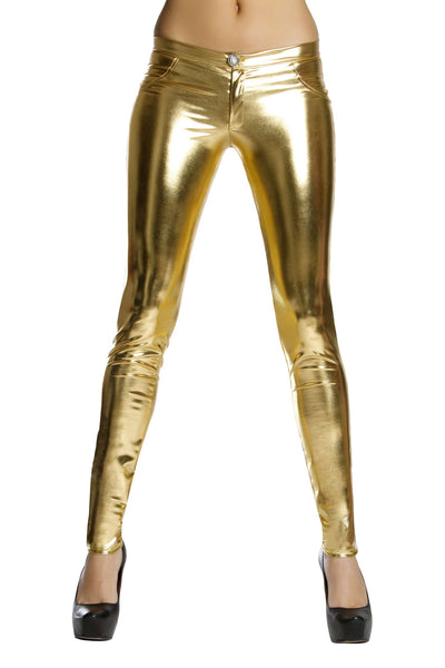Metallic Button Front Pants w/ Pocket Detail - Gold
