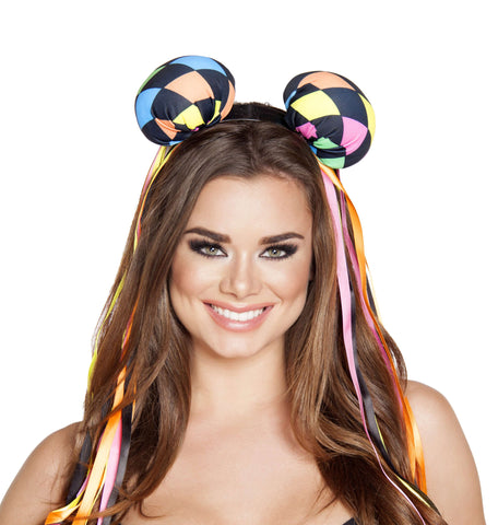 Multi Colored Diamond Head Piece w/ Ribbons