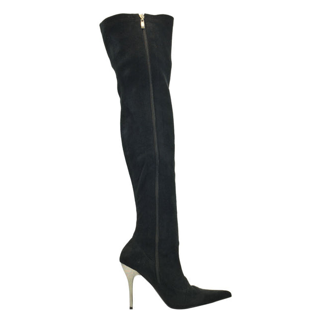 "4""Thigh High Ultra Suede Boot-Black Suede Stretch-PERFECT"