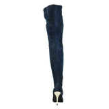 "4""Thigh High Ultra Suede Boot-Navy Suede Stretch P-PERFECT"