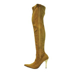 "4""Thigh High Ultra Suede Boot-Tan Suede PU-PERFECT"