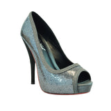 "4"" 1/2Open Toe Sequin Pull Over Platform-Grey Glitter PU-PIN UP-5""1"